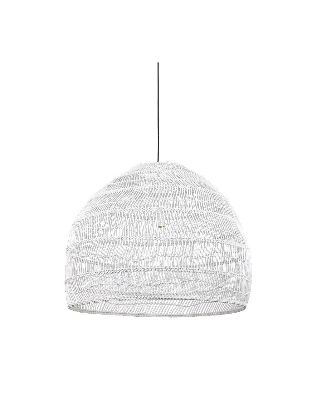 Rieten Hanglamp Bol Large - Wit
