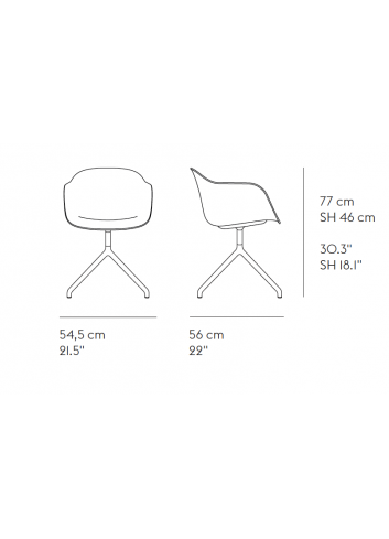 Stoel Fiber Armchair Swivel Base | zwart
