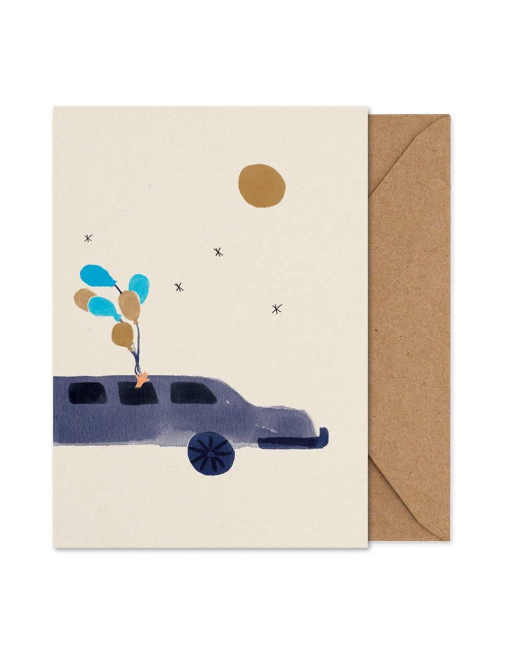 Artprint/wenskaart A5 | Loulou in the Limo