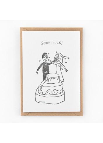 Wenskaart | good luck wedding cake fight