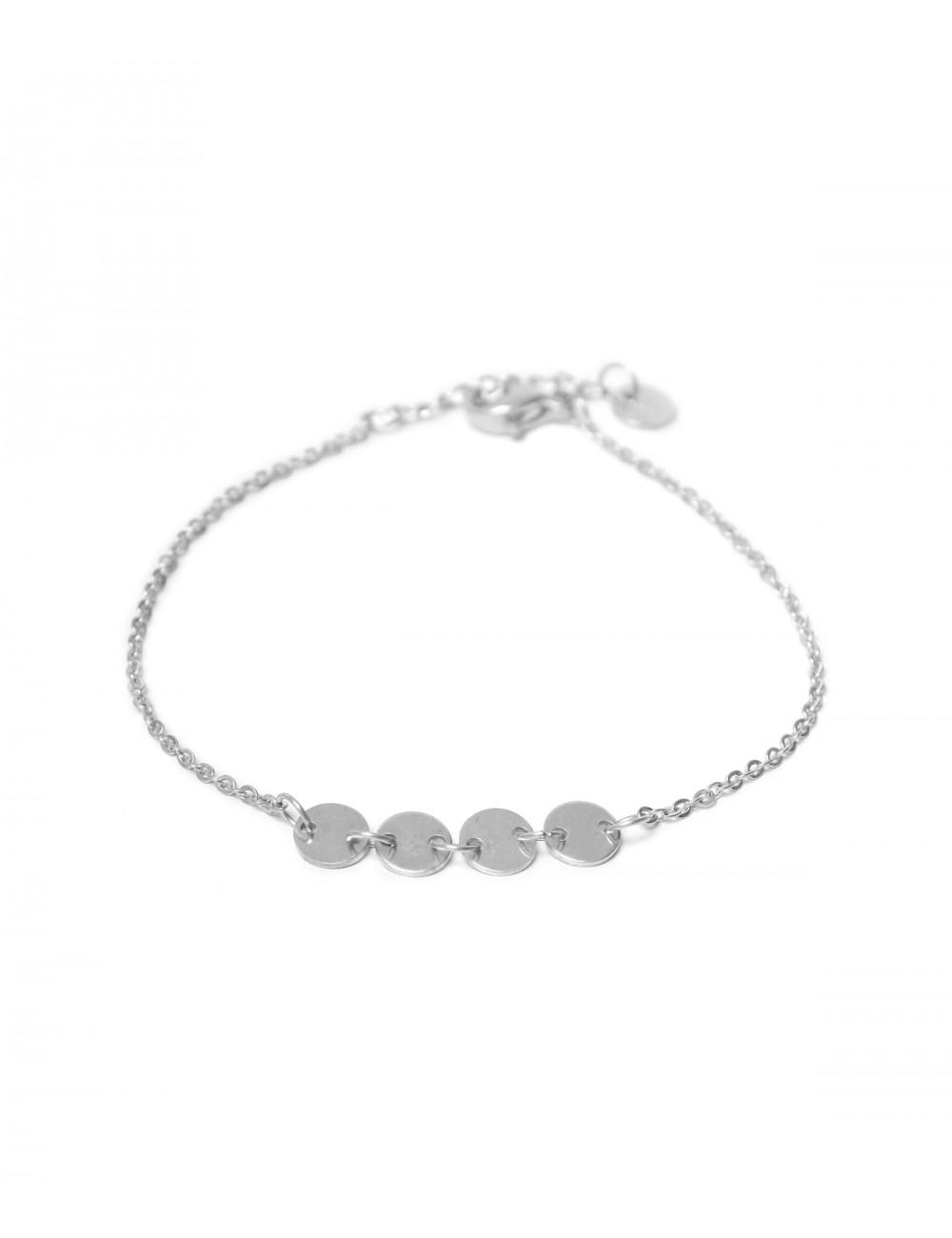 Armbandje Round Labels | zilver