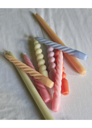 Kaarsen New Candle Twist (set van 6) | caramel, peach, lavender