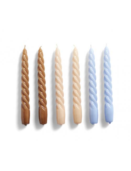 Kaarsen New Candle Twist (set van 6)   caramel, peach, lavender
