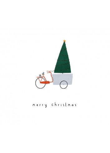Kerstkaart met envelop | Bicycle