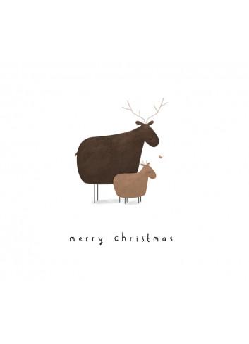 Kerstkaart met envelop   Reindeer
