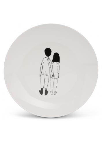 Ontbijtbord | naked couple back