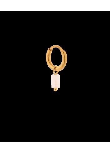 Oorbel Small Pink Quartz Tube Hoop | goud