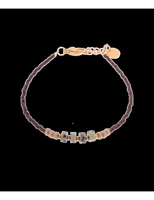 Armbandje Brown Dalmatian Jasper | goud