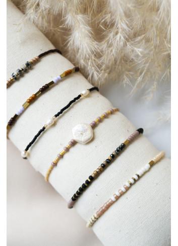 Armbandje Brown Dalmatian Jasper   goud