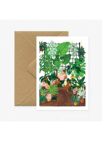 Wenskaart | plant addict - lady