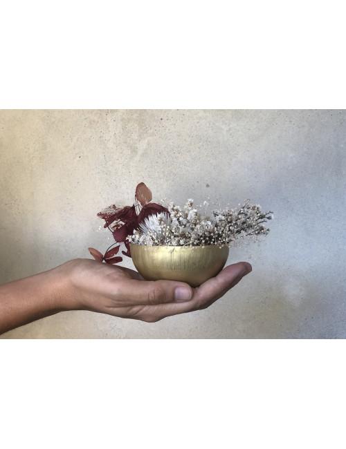 Hangpot Met Droogbloemen   goud