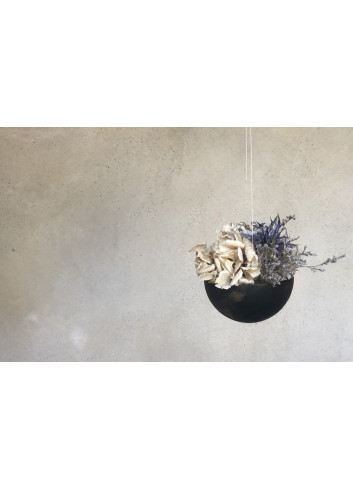 Hangpot Met Droogbloemen | zwart