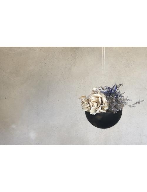 Hangpot Met Droogbloemen   zwart