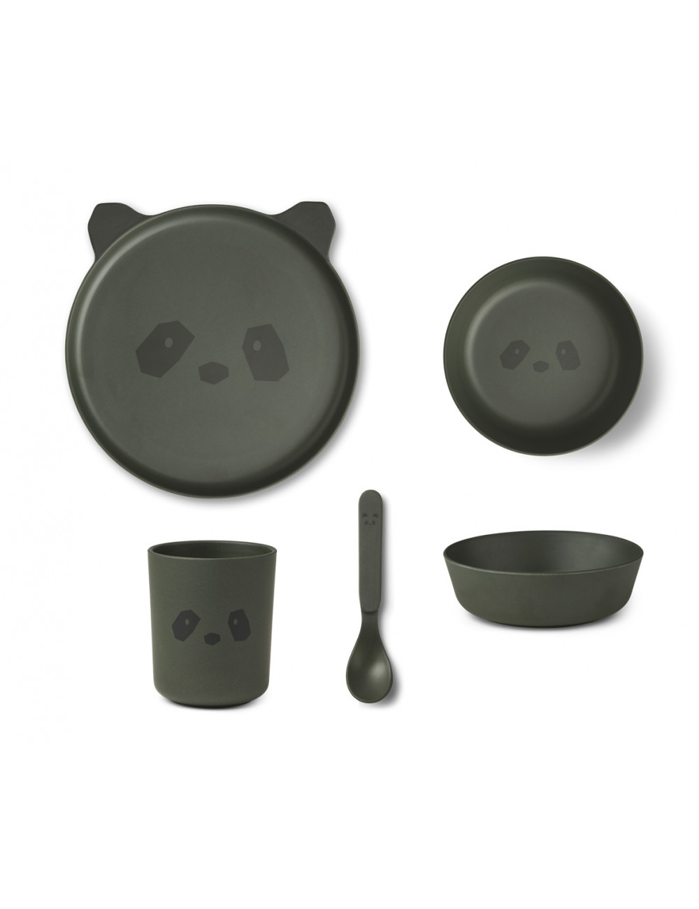 Bamboe Eetset | panda hunter green