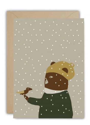 Wenskaart | christmas snowbird