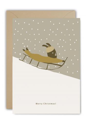 Wenskaart | christmas sledge