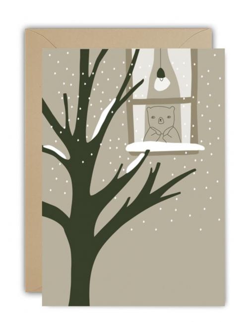 Wenskaart | christmas snow window