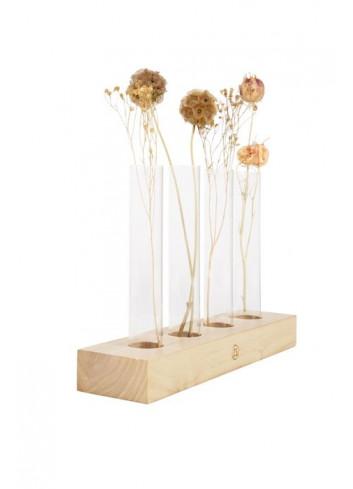 Vaasjes (set van 4) in houten voet