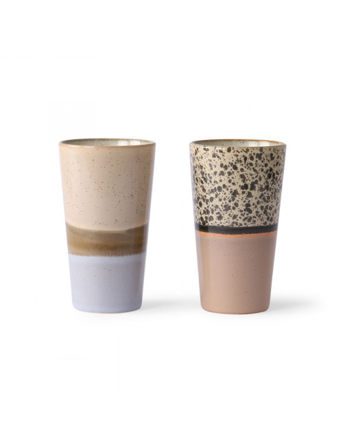 Ceramic 70's Latte Mokken (set van 2)