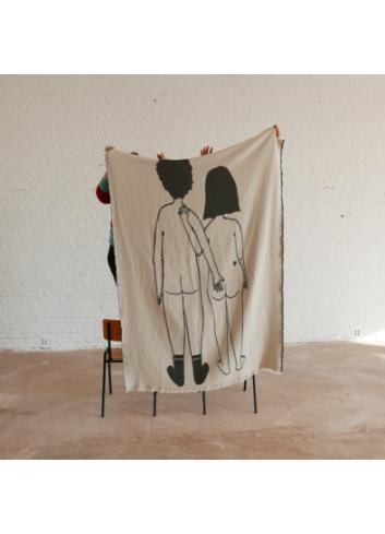 Katoenen Plaid 140x180 cm | naked couple back