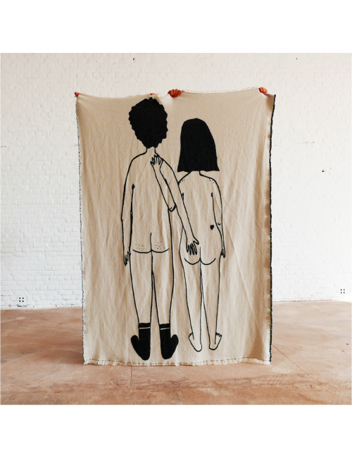 Katoenen Plaid 140x180 cm | naked couple back