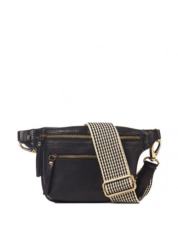 Handtas Beck's Bum Bag Black Stromboli Leather Checkered Strap
