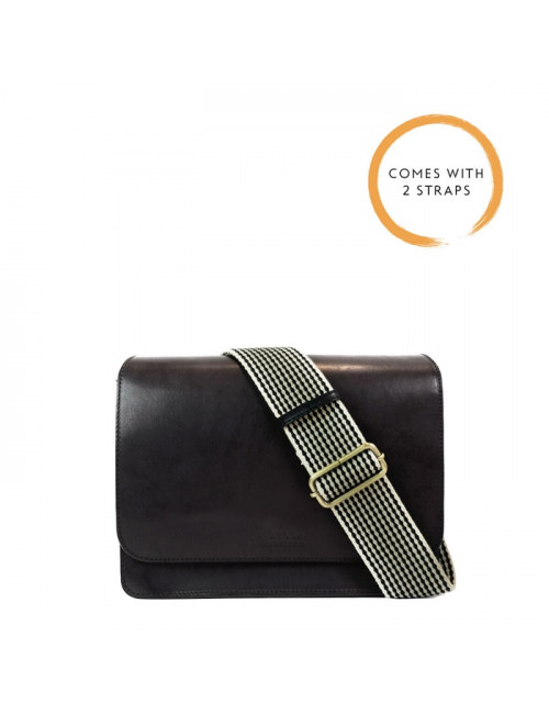 Handtas Audrey Black Classic Leather Checkered Strap
