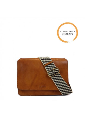 Handtas Audrey Cognac Classic Leather Checkered Strap