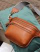 Handtas Beck's Bum Bag Cognac Stromboli Leather Checkered Strap
