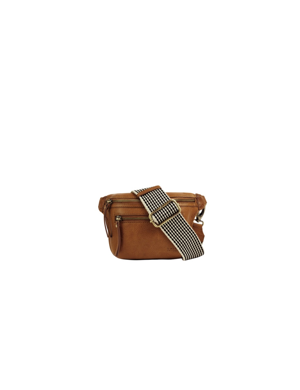 Handtas Beck's Bum Bag Cognac Stromboli Leather Checkered Strap