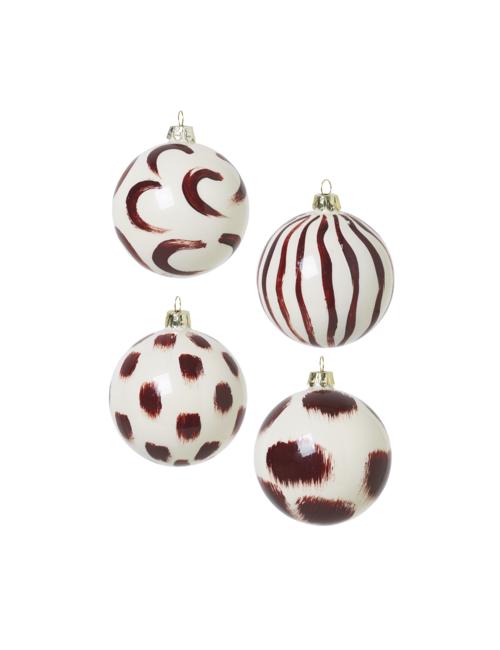 Kerstballen (set van 4) | bordeau