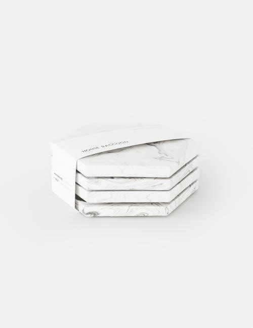 Marmeren Onderleggers Dalbane (set van 4) | wit