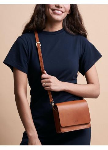 Handtas Audrey Mini | cognac classic leather checkered strap