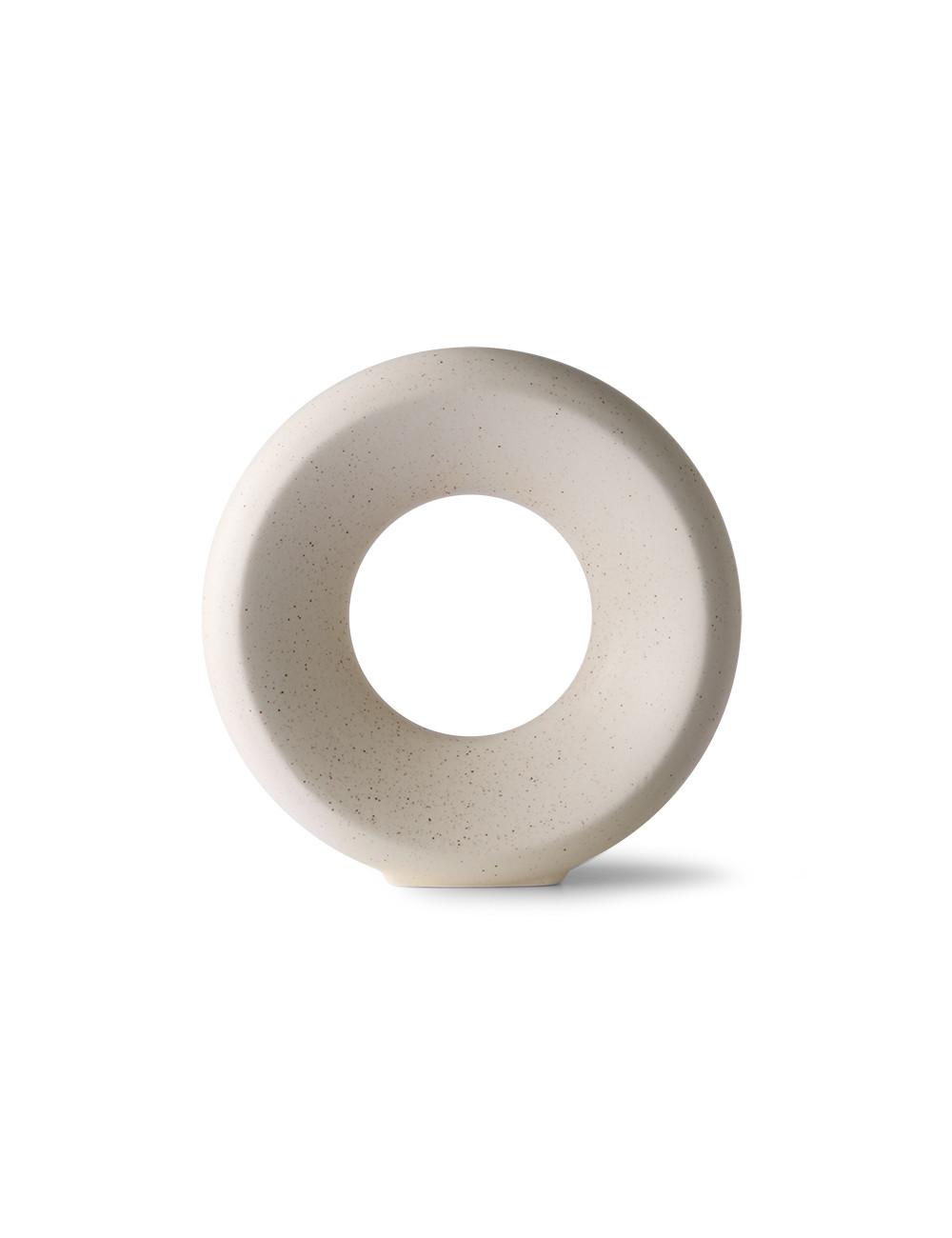 Keramieken Vaas Cirkel | medium/wit gespikkeld