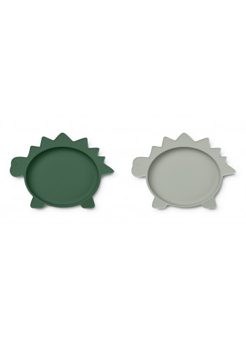 Siliconen Bordjes Olivia (set van 2) | dino garden green/dove blue mix