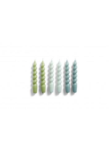 Kaarsen Spiral (set van 6) | arctic blue, green, teal