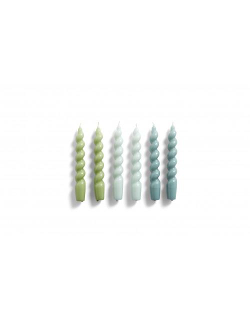 Kaarsen Spiral (set van 6)   arctic blue, green, teal