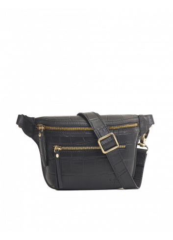 Beck's Bum Bag | zwart croco classic, full leather strap