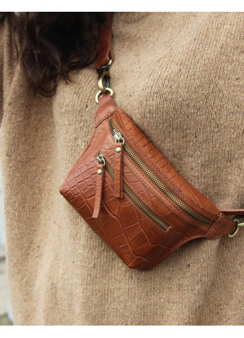 Beck's Bum Bag | wild oak croco soft grain leather