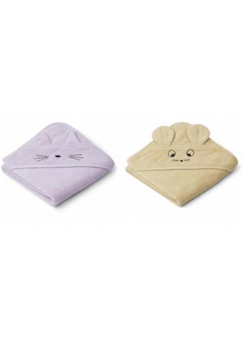 Badcape (baby) Albert set van 2 | kat/muis lavendel/geel