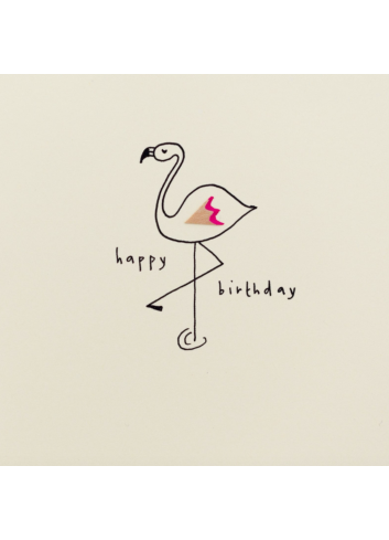 Wenskaart | birthday flamingo