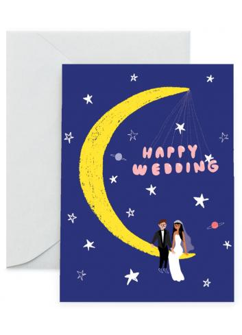 Wenskaart | happy wedding/maan