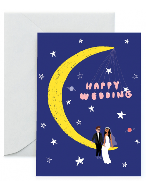 Wenskaart | happy wedding/maan