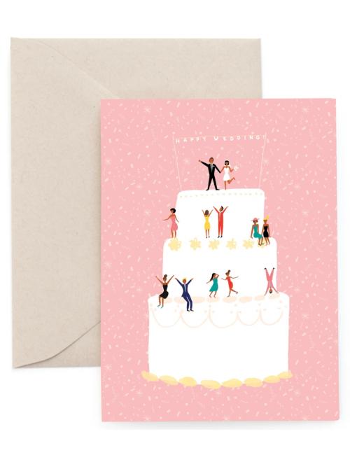 Wenskaart | happy wedding/taart