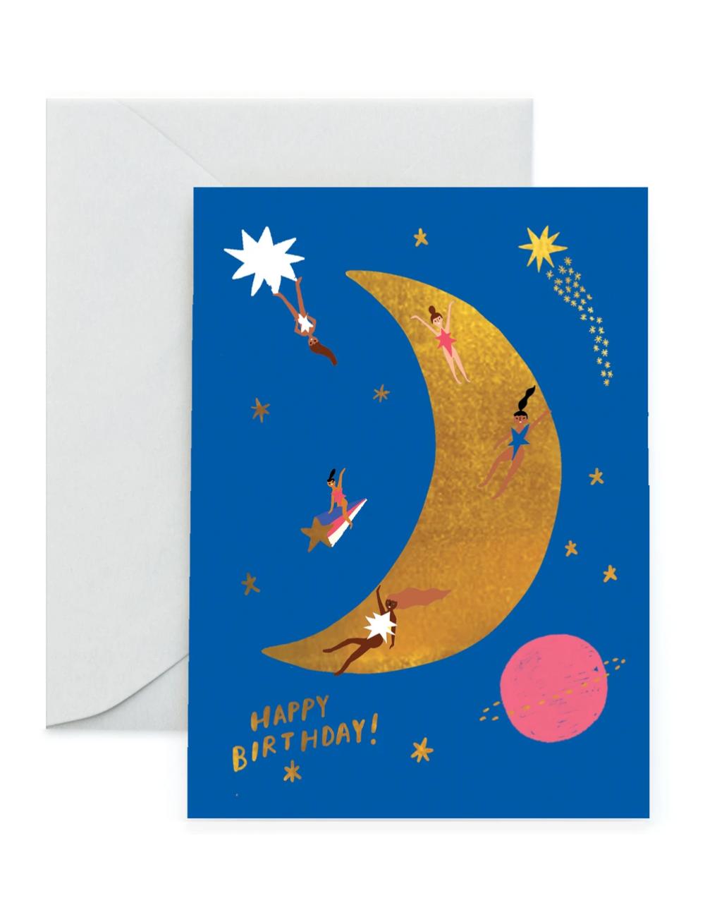 Wenskaart | birthday/maan
