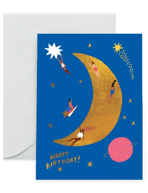 Wenskaart   birthday/maan