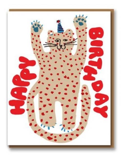 Wenskaart | happy birthday/cheetah