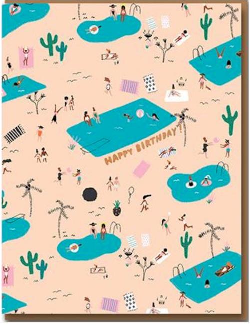 Wenskaart | birthday/pool party forever