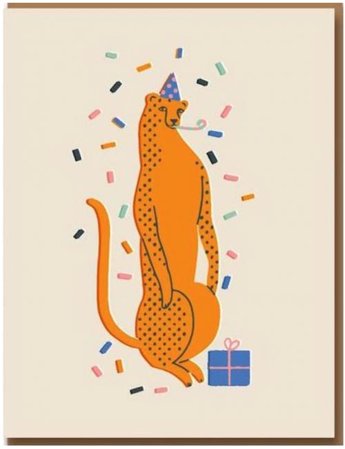 Wenskaart | party leopard