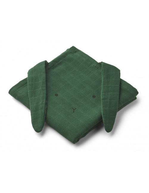 Hannah set 2 hydrofiele doeken 70x70cm | konijn garden green
